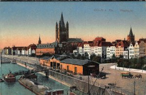 Coln am Rhein Rheinufer River Boats Promenade Postcard