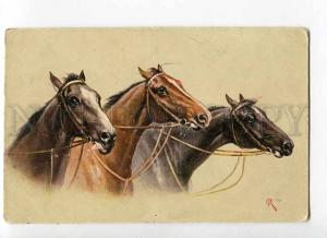 264734 Heads of Three Running HORSES by REICHERT old MUNK #286
