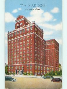 Unused Linen OLD CARS & MADISON HOTEL Atlantic City New Jersey NJ t0395