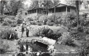 B93/ Detroit Lakes Minnesota RPPC Postcard Sunken Garden c50s Fair Hills Resort