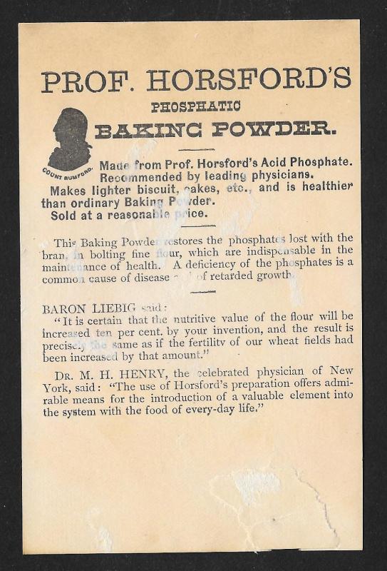 VICTORIAN TRADE CARD Prof Horsford's Baking Powder Baby