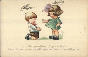 Charles Twelvetrees - Cute Kids Romance Boy on Knees c1915 Postcard