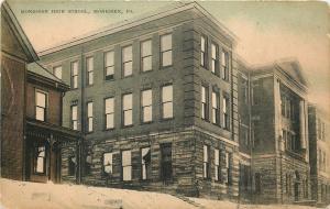 Monessen Pennsylvania~High School on Hill~House~Handcolored~1910 Postcard