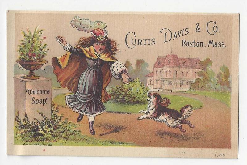 Victorian Trade Card Curtis Davis & Co Boston Welcome Soap