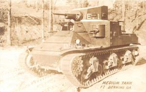 C61/ Fort Benning Georgia Ga Real Photo RPPC Postcard c1940s Medium Tank