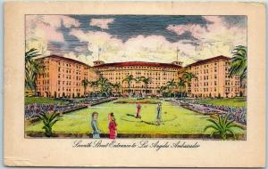 Los Angeles CA Postcard AMBASSADOR HOTEL 7th Street Entrance Artist's View