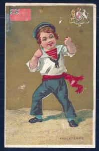 VICTORIAN TRADE CARDS 3 different Boys & Flags