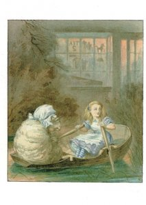 Alice With Sheep In Boat Through The Looking Glass 1911 Book Postcard