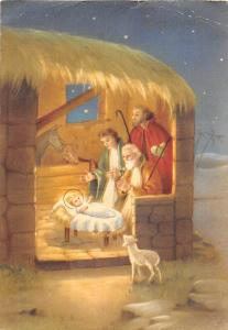 Holy Virgin birth of Jesus, Stable, Religious Illustration