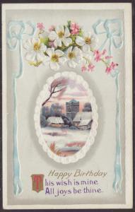 Happy Birthday,Flowers,Scene Postcard