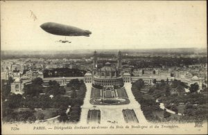 Dirigible Balloon Over Paris Soldier's Mail Censored AEF Cancel WWI Postcard