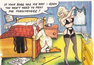 Boss By Sexy Lingerie Undewear Praying For Forgiveness Comic Humour Postcard