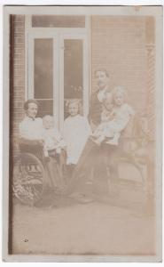 Social History, Family Group, Woman in Invalid Chair RP PPC, c 1900's