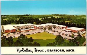 Dearborn, Michigan Postcard HOLIDAY INN Artist-Signed ROCHON c1960s Unused