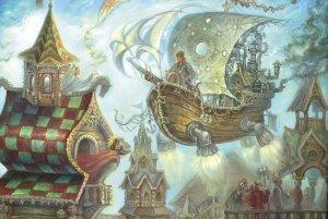 FLYING SHIP Fool of World TSAR Fantasy Faity Tale Ethnic Folk Russian New Postca
