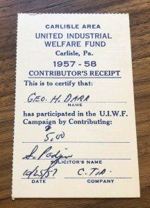 Carlisle , PA - United Industrial Welfare Fund - Card Ticket Receipt 1957-58
