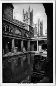 Bath, England Roman Baths and Abbey, King's Bath Vintage Photo Postcard H08