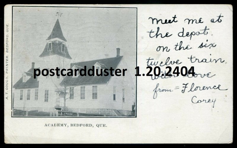 2404 - BEDFORD Quebec Postcard 1905 Academy by Gould