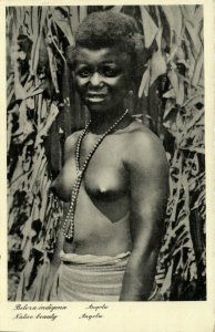 PC CPA ETHNIC NUDE FEMALE, ANGOLA, BELEXA INDIGENA, Vintage Postcard (b25705)