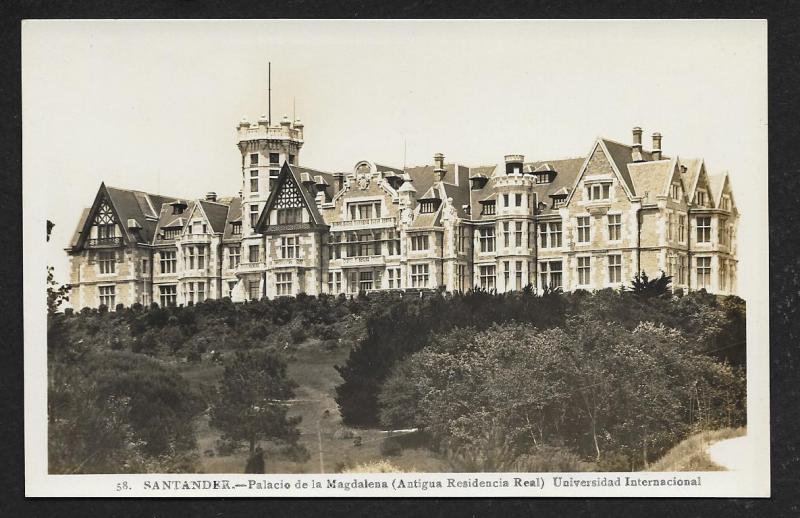 Magdalena Palace Santander Spain RPPC Unused c1920s