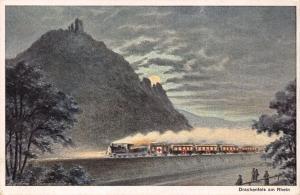 Postcard Vintage 1919 Art Drachenfels am Rhein Germany #D