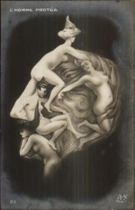 Metamorphic Fantasy - Nude Women Kaiser? L'Homme Protee c1910 RPPC gfz