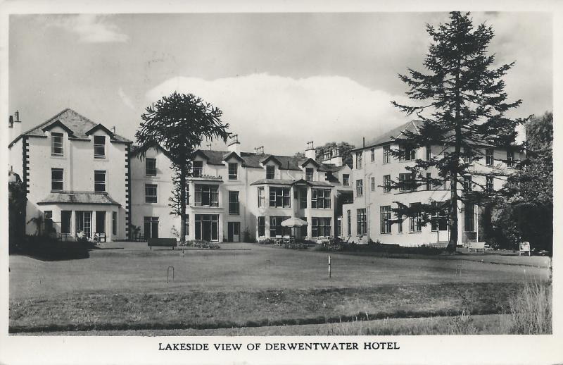 Lakeside View of Derwentwater Hotel, England, early real photo postcard, unused