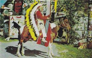 Indian on Horseback, Caughnawaga Indian Reserve , Quebec, Canada, 40-60s