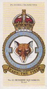 Player Vintage Cigarette Card R A F Badges N0 6 No 12 Bomber Squadron  1937