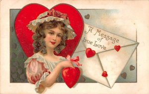 A Message of True Love young lady red hearts envelopes antique pc BB1088