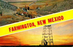 New Mexico Farmington Showing Oil Wells and Country Scene