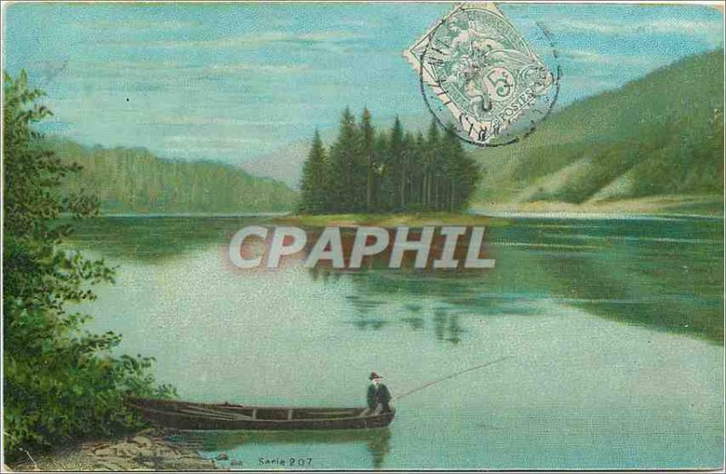 Old Postcard Fishing Fisherman