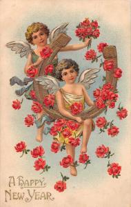 New Year Greetings Angels Horseshoe Roses Vintage Postcard J926491