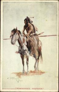 Charles M. Russell Native Indian on Horse Arapahoe Postcard c1910