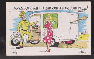 Comic Postcard - Woman & Milkman - Milk Guranteed Fresh - Used 1963