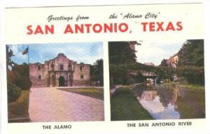 The Alamo and The San Antonio River, San Antonio, Texas,  40-60s