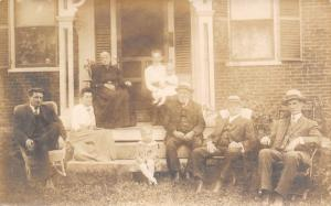 Perkinsville Vermont~Family Portrait on Porch~We're All Here~Alice~CBW~1914 RPPC