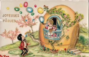 Happy Easter fantasy postcard floral egg house girl bubbles Easter eggs novelty