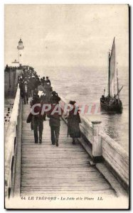 Old Postcard Le Treport The pier and lighthouse boat