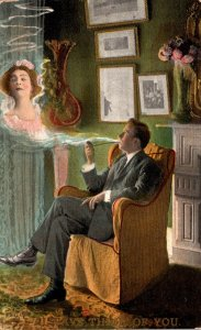 Man Seeing Beautiful Lady In Pipe Smoke 1910