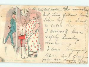 Pre-Linen Comic WIFE WAITING TO BEAT HUSBAND FOR COMING HOME LATE AB8393