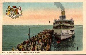 Canada Ontario Crystal Beach Steamer Canadania At Dock 1943