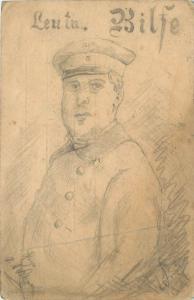 Konigreich Bayern Postkarte lieutenant portrait handmade drawing world war I