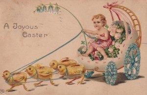 EASTER, PU-1910; Child driving Chick drawn egg shell wagon w/flower wheels