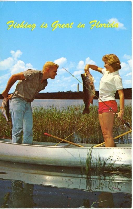 Florida FL ~ Fishing Is Great in Florida ~ Fish Man Woman Canoe Funny Postcard