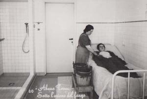 Abano Terme Old Italian Hospital Sick Woman Nurse d In Bed Real Photo Postcard