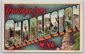 Postcard WV Charleston Large Letter Greetings from Charleston West Virginia M14