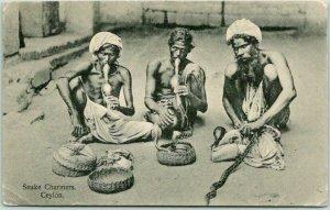Postally-Used CEYLON Sri Lanka Postcard Snake Charmers, CEYLON 1927 Cancel