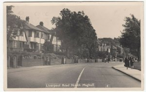 Lancashire; Liverpool Road, North Maghull RP PPC, 1953 PMK, Note Esso Globes