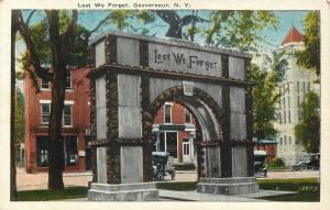Gouverneur New York~Lest We Forget Memorial Arch~Motor Cars Shop Behind~1920s